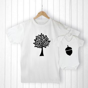 Personalised Daddy and Me ACORN T-Shirt & Babygrow Set