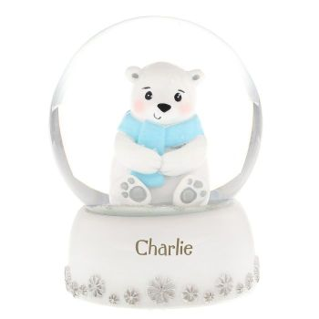 Personalised POLAR BEAR SNOW GLOBE, Christmas Snow Globe, Childrens snow globe
