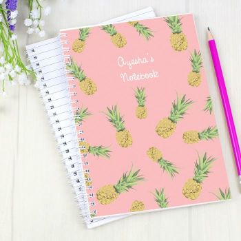 Personalised PINEAPPLE Notebook, School Notepad Jotter Notebook
