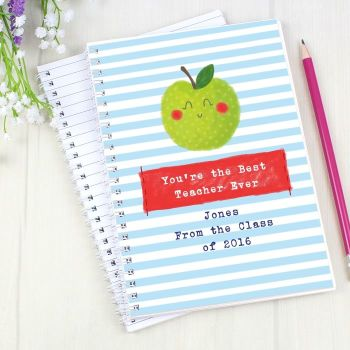 Personalised HAPPY APPLE Notebook, School Notepad Jotter Notebook