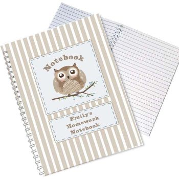 Personalised OWL Notebook, School Notepad Jotter Notebook