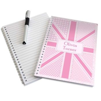 Personalised UNION JACK Notebook, School Notepad Jotter Notebook
