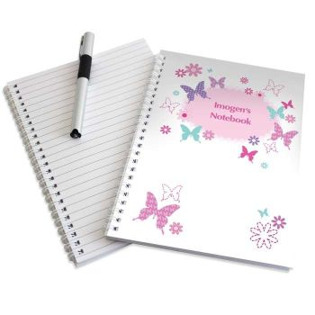 Personalised BUTTERFLY Notebook, School Notepad Jotter Notebook
