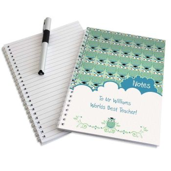 Personalised MR OWL Notebook, School Notepad Jotter Notebook