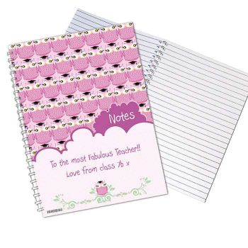Personalised MISS OWL Notebook, School Notepad Jotter Notebook