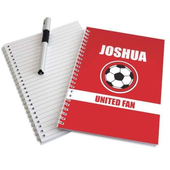 Personalised RED FOOTBALL Notebook - Man Utd Liverpool Arsenal