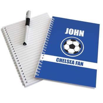 Personalised DARK BLUE FOOTBALL Notebook - Everton Chelsea Leicester