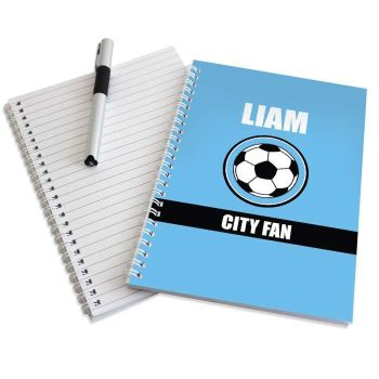 Personalised SKY BLUE FOOTBALL Notebook - Man City Wolves QPR