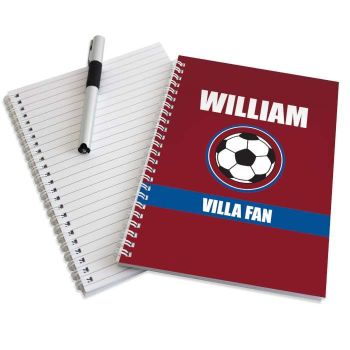 Personalised CLARET & BLUE FOOTBALL Notebook - Burnley West Ham Aston Villa