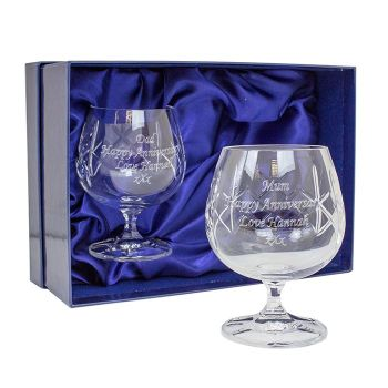 Personalised PAIR of LEAD CRYSTAL BRANDY GLASSES