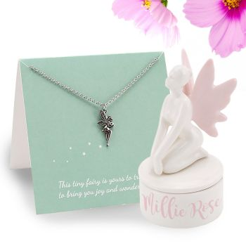 Personalised Ceramic Fairy Trinket Box and Necklace