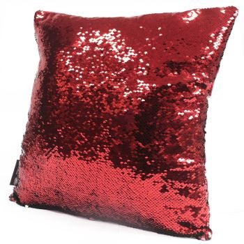 2x Mermaid Cushion Covers - Red & Green Scatter Cushion Sequin Cushion