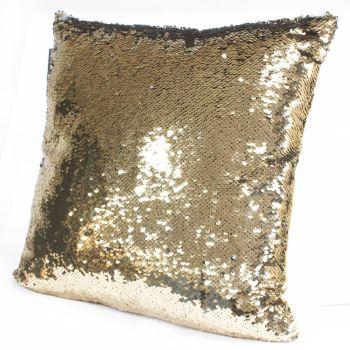 2x Mermaid Cushion Covers - Gold & Silver Scatter Cushion Sequin Cushion