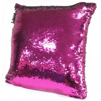2x Mermaid Cushion Covers - Violet & Silver Scatter Cushion Sequin Cushion