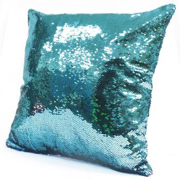 2x Mermaid Cushion Covers - Teal & Lavender Scatter Cushion Sequin Cushion