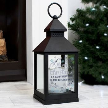 Personalised CHRISTMAS BLACK Lantern