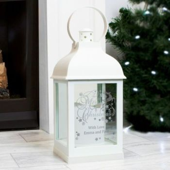 Personalised CHRISTMAS WHITE Lantern