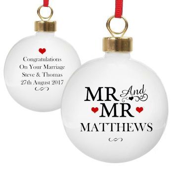 Personalised MR & MR COUPLES BAUBLE Ceramic Christmas Tree Decoration
