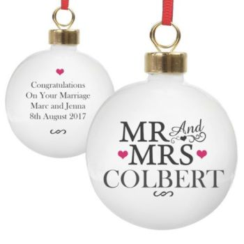 Personalised MR & MRS COUPLES BAUBLE Ceramic Christmas Tree Bauble Decoration
