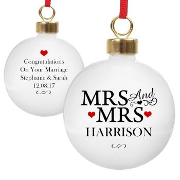 Personalised MRS & MRS COUPLES BAUBLE Ceramic Christmas Tree Bauble Decoration
