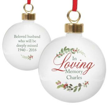 Personalised IN LOVING MEMORY BAUBLE Ceramic Christmas Tree Bauble Decoration