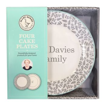 Personalised MARY BERRY COLLECTION 4x CAKE PLATES