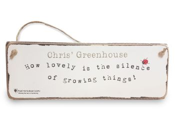 Personalised RHS HANGING SIGN Garden Decor