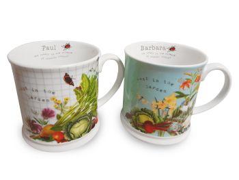 Personalised RHS MUG SET (Pair) Garden Theme Mugs
