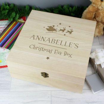 Personalised Large Wooden CHRISTMAS EVE Keepsake Box