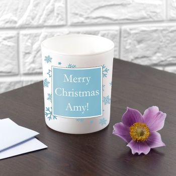 Personalised Ice Blue Snowflake Tealight Holder
