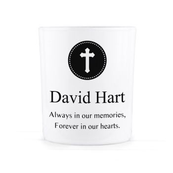 Personalised Memorial Glass Tealight Holder - Multiple Symbols / Religions