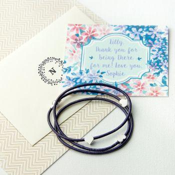Personalised Three Heart Friendship Wrap Bracelet