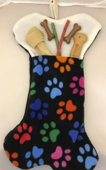 Large Handmade Dog Fleece Bone, Christmas Doggie Stocking