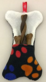 Small Handmade Dog Fleece Bone, Christmas Doggie Stocking