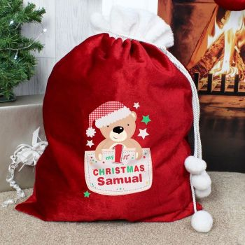 Personalised MY 1ST CHRISTMAS LUXURY CHRISTMAS SACK Santa Sack for Xmas Eve
