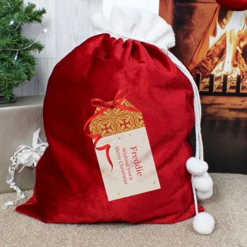 Personalised XMAS GIFT TAG LUXURY CHRISTMAS SACK Santa Sack for Xmas Eve