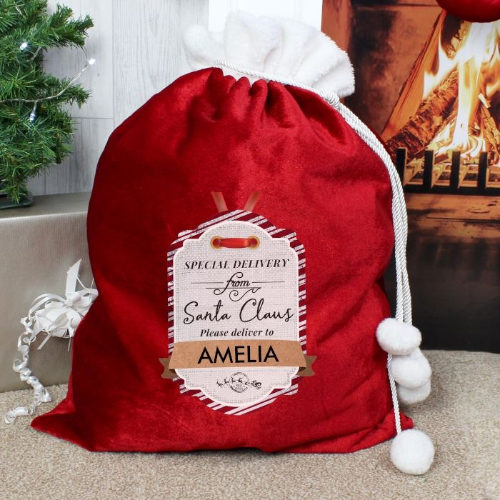Personalised Special Delivery Luxury Christmas Sack Santa Sack For Xmas Eve