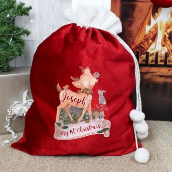 Personalised FAWN LUXURY CHRISTMAS SACK Santa Sack for Xmas Eve