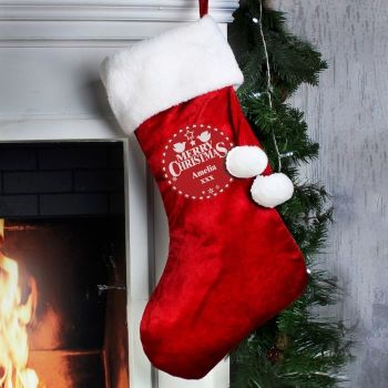 Personalised CHRISTMAS WISHES STOCKING Santa Sack for Xmas Eve