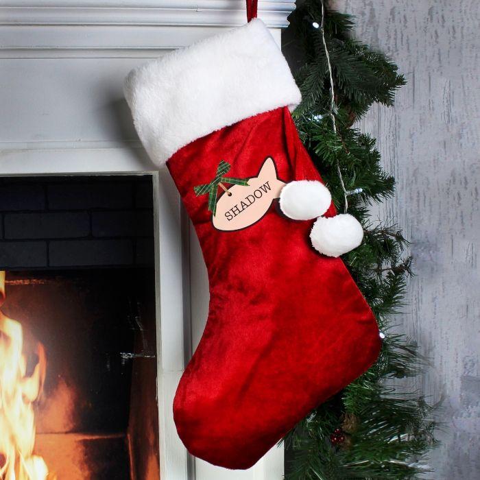 Cat Christmas Stockings.Personalised Cat Christmas Stocking Santa Sack For Xmas Eve