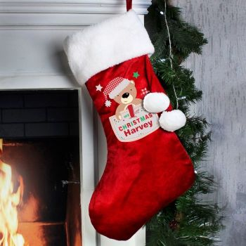 Personalised MY 1ST CHRISTMAS STOCKING Santa Sack for Xmas Eve