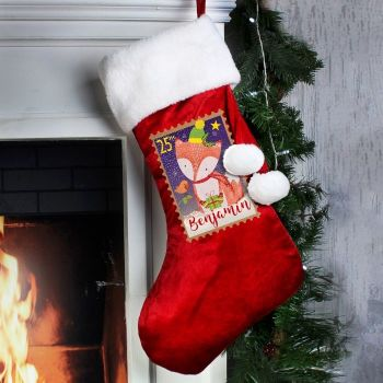Personalised FESTIVE FOX STOCKING Santa Sack for Xmas Eve