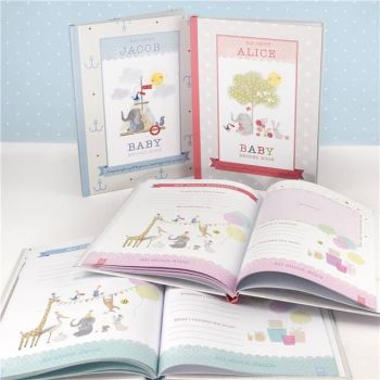 Personalised MILLY & FLYNN BABY RECORD BOOK New Baby Gift