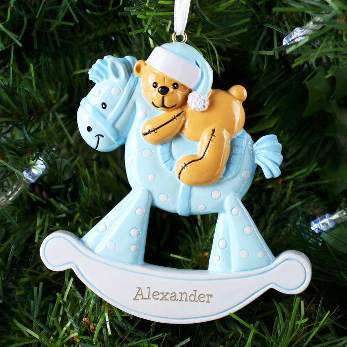 Personalised Blue Rocking Horse Resin Christmas Tree Decoration