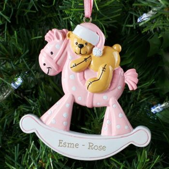 Personalised PINK ROCKING HORSE Resin Christmas Tree Decoration
