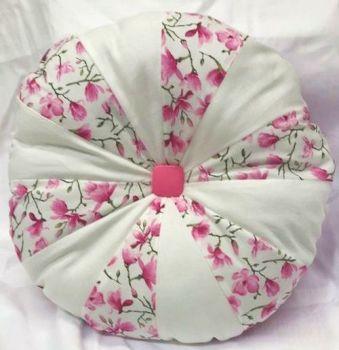 Handmade Pink & White PATCHWORK CUSHION Pinwheel Cushion