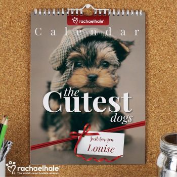 Personalised RACHAEL HALE CUTEST DOGS CALENDAR A4 - Start on ANY Month