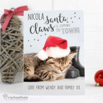 Personalised RACHAEL HALE CHRISTMAS CARD CAT