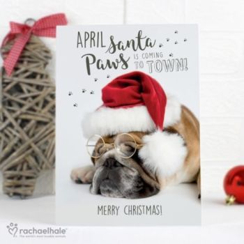 Personalised RACHAEL HALE CHRISTMAS CARD BULLDOG