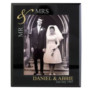 Personalised 7x5 GOLDEN COUPLE Photo Frame Mr&Mrs Mr&Mr Mrs&Mrs
